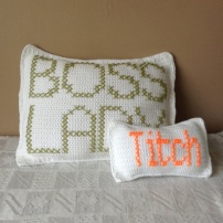 Boss Lady and Titch Crochet Cusion