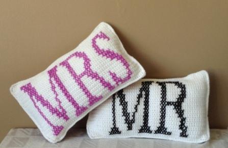 Mr and Mrs Crochet Cushions