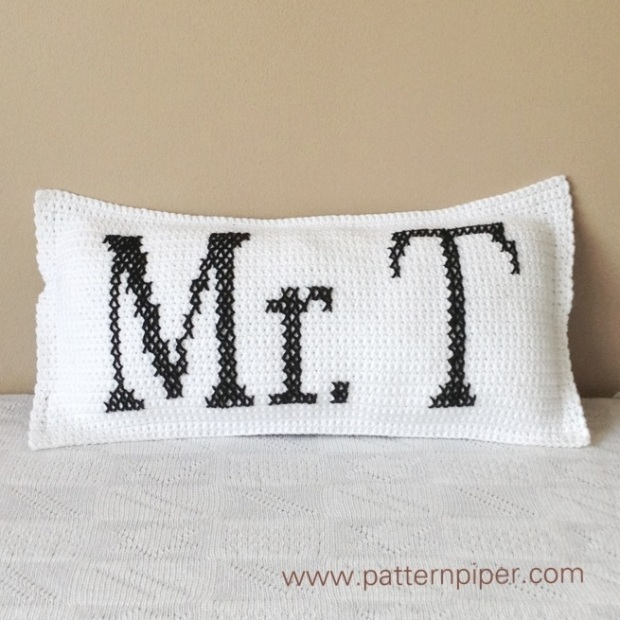 Mr T Crochet Cushion