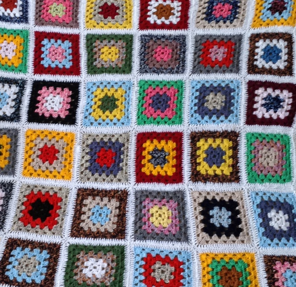 White Border Granny Square Blanket