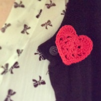 Crochet Heart Brooch
