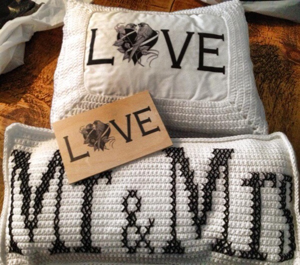 Love and Mr & Mrs Crochet Cushions