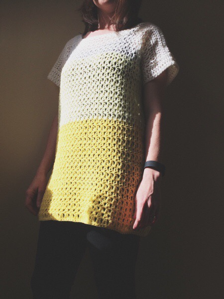 PatternPiper Yellow Ombre Crochet Jumper - Full Length
